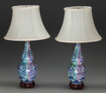 Asian:Chinese, A Pair of Chinese Porcelain Vases Mounted as Lamps, last half 20thcentury. 12-3/4 inches high (32.4 cm) (excluding light fi...(Total: 6 Items)