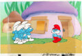 Animation Art:Production Cel, The Smurfs Production Cel Setup and Master ProductionBackground (Hanna-Barbera, 1980)....
