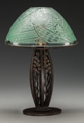 Art Glass:Other , A French Robj Wrought Iron and Art Glass Lamp, Paris, France, circa1930. Marks to underside of base: ROBJ, PARIS; marks...(Total: 2 Items)