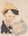 Animation Art:Production Drawing, Pinocchio, Figaro, Cleo and Jiminy Cricket Illustration (1940s)....