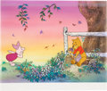 Animation Art:Production Cel, Pooh Catches Spring Fever Winnie the Pooh and PigletProduction Cel and Key Master Background (Walt Disney, 1983)....
