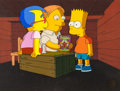 """Animation Art:Production Cel, The Simpsons """"Three Men and a Comic Book"""" Bart, Milhouse,and Martin Production Cel Setup (Fox, 1991)...."""