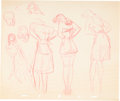 "Animation Art:Production Drawing, ""Disney Girls"" Animation Drawings (Walt Disney, 1940)...."
