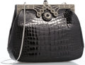 "Luxury Accessories:Accessories, Judith Leiber Shiny Black Crocodile & Silver Crystal EveningBag with Silver Hardware. 8"" Width x 6"" Height x 2"" Depth,20..."