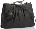 """Luxury Accessories:Accessories, Judith Leiber Black Karung Evening Bag with Greyhound Clasp. 10""""Width x 7"""" Height x 1.8"""" Width. Very Good to Excellen..."""