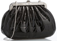 "Judith Leiber Shiny Black Crocodile & Silver Crystal Evening Bag with Silver Hardware 7.5"" Width x 5"" Heig..."