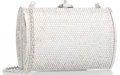 """Luxury Accessories:Accessories, Judith Leiber Full Bead Silver Crystal Minaudiere Evening Bag.4.8"""" Width x 3.3"""" Height x 1"""" Width, 20"""" Shoulder Drop.Exc..."""