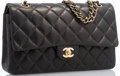 "Luxury Accessories:Accessories, Chanel Black Quilted Lambskin Leather Medium Double Flap Bag withGold Hardware. Very Good to Excellent Condition.10""..."