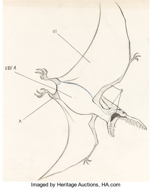 Animation ArtProduction Drawing The Adventures Of Jonny Quest Pterodactyl Layout DrawingHanna