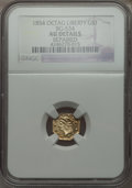 California Fractional Gold , 1854 $1 Large Eagle Octagonal 1 Dollar, BG-534, High R.6 --Repaired -- NGC Details. AU. NGC Census: (0/2). PCGS Population...