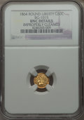 California Fractional Gold , 1864 50C Liberty Round 50 Cents, BG-1015, R.7 -- Improperly Cleaned-- NGC Details. UNC. PCGS Population...