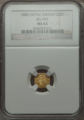 California Fractional Gold , 1880 50C Indian Octagonal 50 Cents, BG-955, R.6 MS63 NGC. NGCCensus: (1/1). PCGS Population (5/8). . From The ElbertHe...