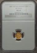 California Fractional Gold , 1881 50C Thin, BG-965A, R.6, MS62 NGC. NGC Census: (3/1). PCGSPopulation (1/3).. From The Elbert Henry Gary Collection....