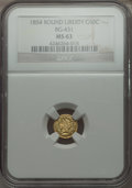 California Fractional Gold , 1854 50C Liberty Round 50 Cents, BG-431, Low R.5 MS63 NGC. NGCCensus: (1/0). PCGS Population (14/1). . From The Elbert ...
