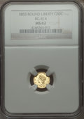 California Fractional Gold , 1853 50C Liberty Round 50 Cents, BG-414, Low R.5 MS62 NGC. NGCCensus: (2/0). PCGS Population (10/2). . From The Elbert ...