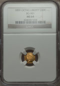 California Fractional Gold , 1859 50C Liberty Octagonal 50 Cents, BG-901, High R.6 MS64 NGC. NGCCensus: (4/0). PCGS Population (4/3). . From The Elb...