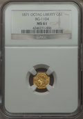 California Fractional Gold , 1871 $1 Liberty Octagonal 1 Dollar, BG-1104, High R.4 MS61 NGC. NGCCensus: (1/8). PCGS Population (4/35). . From The El...