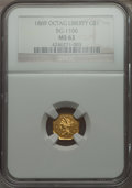 California Fractional Gold , 1869 $1 Liberty Octagonal 1 Dollar, BG-1106, High R.4 MS62 NGC. NGCCensus: (4/1). PCGS Population (24/10). . From The E...