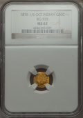 California Fractional Gold , 1876/6876 50C Indian Octagonal 50 Cents, BG-935, R.5 MS62 NGC. NGCCensus: (3/5). PCGS Population (11/20). . From The El...