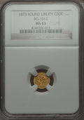 California Fractional Gold , 1873 50C Liberty Round 50 Cents, BG-1012, High R.5 MS63 NGC. NGCCensus: (2/2). PCGS Population (5/11). . From The Elber...
