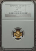 California Fractional Gold , 1854 $1 Liberty Octagonal 1 Dollar, BG-508, High R.4 MS61 NGC. NGCCensus: (2/6). PCGS Population (5/33). . From The Elb...