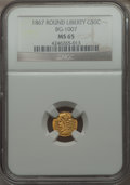 California Fractional Gold , 1867 50C Liberty Round 50 Cents, BG-1007, High R.4 MS65 NGC. NGCCensus: (3/2). PCGS Population (10/1). . From The Elber...