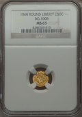 California Fractional Gold , 1868 50C Liberty Round 50 Cents, BG-1008, R.5 MS65 NGC. NGC Census:(2/2). PCGS Population (6/0). . From The Elbert Henr...