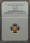 California Fractional Gold , 1859 50C Liberty Round 50 Cents, BG-1003, High R.6 MS62 NGC. NGCCensus: (2/1). PCGS Population (4/5). . From The Elbert...