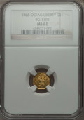 California Fractional Gold , 1868 $1 Liberty Octagonal 1 Dollar, BG-1105, High R.4 MS62 NGC. NGCCensus: (2/0). PCGS Population (14/19). . From The E...