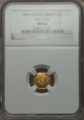 California Fractional Gold , 1860 $1 Liberty Octagonal 1 Dollar, BG-1102, R.4 MS62 NGC. NGCCensus: (9/8). PCGS Population (24/33). . From The Elbert...