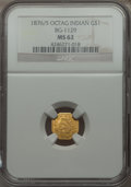 California Fractional Gold , 1876/5 $1 Indian Octagonal Dollar, BG-1129, R.4 MS62 NGC. NGCCensus: (2/3). PCGS Population (28/33). . From The Elbert...