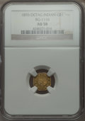 California Fractional Gold , 1876 $1 Indian Octagonal 1 Dollar, BG-1116, High R.6 AU58 NGC. NGCCensus: (1/2). PCGS Population (0/9). . From The Elbe...