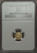 California Fractional Gold , 1853 $1 Liberty Octagonal 1 Dollar, BG-505, R.4 MS62 NGC. NGCCensus: (8/4). PCGS Population (11/7). . From The ElbertH...