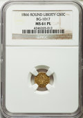 , 1866 50C Liberty Round 50 Cents, BG-1017, R.6, MS61 Prooflike NGC.NGC Census: (2/0). . From The ...