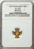 California Fractional Gold: , 1859 50C Liberty Round 50 Cents, BG-1002, High R.4, MS65 ProoflikeNGC. NGC Census: (2/3). . From...