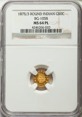 , 1875/3 50C Indian Round 50 Cents, BG-1058, R.3, MS64 Prooflike NGC.NGC Census: (6/2). . From The...