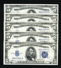 Small Size:Silver Certificates, Fr. 1651 $5 1934A Silver Certificates. Five Consecutive Examples. Gem Crisp Uncirculated.. Prominent embossing claims this q... (Total: 5 notes)