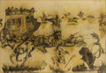 Texas:Early Texas Art - Regionalists, RUTH MONRO AUGUR (1886-1967). Mural Study - Indians Raiding aStagecoach. Charcoal and graphite on paper. 22-1/4 x 41-3/...