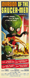 "Movie Posters:Science Fiction, Invasion of the Saucer-men (American International, 1957). Insert(14"" X 36""). ..."