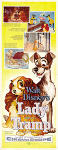 "Movie Posters:Animated, Lady and the Tramp (Buena Vista, 1955). Insert (14"" X 36""). ..."