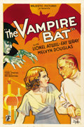 "Movie Posters:Horror, The Vampire Bat (Majestic, 1933). One Sheet (27"" X 41""). ..."