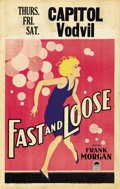 """Movie Posters:Comedy, Fast and Loose (Paramount, 1930). Window Card (14"""" X 22""""). ..."""