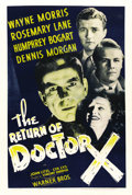 "Movie Posters:Horror, The Return of Dr. X (Warner Brothers, 1939). One Sheet (27"" X41"")...."