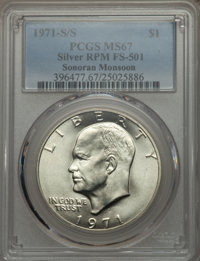 1971-S/S $1 Silver, Repunched Mintmark, FS-501 MS67 PCGS. Ex: Sonoran Monsoon. PCGS Population (1/0). NGC Census: (0/0)...