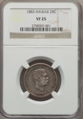 Coins of Hawaii , 1883 25C Hawaii Quarter VF25 NGC. NGC Census: (11/1254). PCGSPopulation (12/1843). Mintage: 242,600. ...