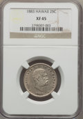 Coins of Hawaii , 1883 25C Hawaii Quarter XF45 NGC. NGC Census: (46/1153). PCGSPopulation (117/1610). Mintage: 242,600. ...