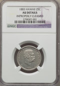 Coins of Hawaii , 1883 25C Hawaii Quarter -- Improperly Cleaned -- NGC Details. AU. NGC Census: (30/1123). PCGS Population (86/1524). Mintage...