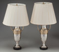 Decorative Arts, Continental:Lamps & Lighting, A Pair of Silvered Trophy Vases Mounted as Lamps, mid 20th century.17 inches high (43.2 cm) (excluding lamp hardware). PR... (Total: 4Items)