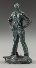 Bronze:European, After Jules Dalou (French, 1838-1902). Homme Debout, circa1895. Bronze with greenish-brown patina. 5 inches (12.7 cm) h...