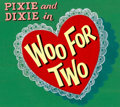 """Animation Art:Production Cel, Pixie and Dixie """"Woo For Two"""" Title Cel and Key MasterBackground Setup (Hanna-Barbera, 1960)...."""